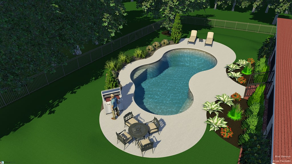 second overhead angle view of 3d pool design