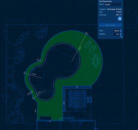 2d layout of concrete patio area