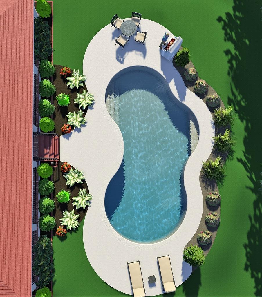 overhead shot of 3d pool design