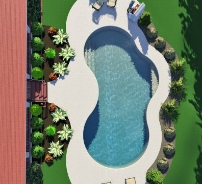 free form 3D pool with nice landscaping